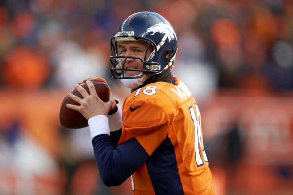AFC Playoffs: Closeup of Denver Broncos QB Peyton Manning playing the Baltimore Ravens at Sports Authority Field at Mile High. Denver, CO 1/12/2013. Image Credit: Getty Images/Peter Read Miller