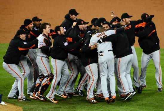 The San Francisco Giants celebrate their Game 4 win over the Detroit Tigers, concluding the 2012 World Series with a Giant victory (photo credit: Jonathan Daniel/Getty Images North America)