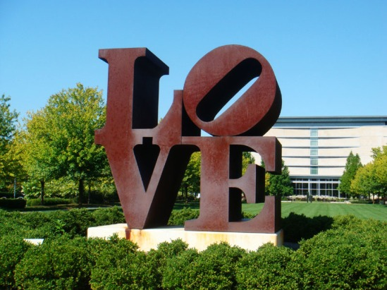 The famous LOVE sculpture created by Robert Indiana sits on the grounds of the Indianapolis Museum of Art. Image Credit: Tania Hussain
