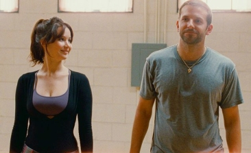 Tiffany (Jennifer Lawrence) and Pat (Bradley Cooper) taking a breather during dance practice in Silver Linings Playbook. Image Credit: The Weinstein Company