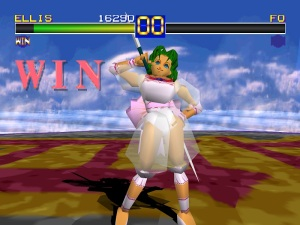 """I never give up!"" Dirks-yielding dancer Ellis poses for a win in the original Battle Arena Toshinden game (screenshot credit: Game Art HQ [game-art-hq.com])."