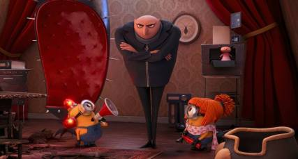 "Gru (voice of Steve Carell; center) and his loveable Minions are back in the game in ""Despicable Me 2"" (Image Credit: Universal Studios/Illumination Entertainment)."