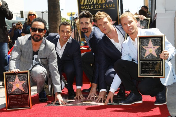 The Backstreet Boys (AJ McLean, Howie Dorough, Kevin Richardson, Nick Carter, and Brian Littrell) received a star on the Hollywood Walk of Fame on April 23, 2013. The band has been together for 20 years. (photo credit: Getty Images)