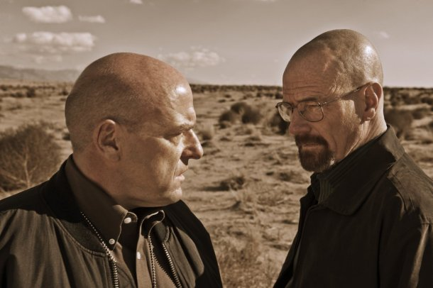 Hank Schrader (Dean Norris) finally uncovers his Heisenberg---his brother-in-law Walter White (Bryan Cranston). Who will win the war in 'Breaking Bad''s final episodes? (photo credit: AMC)