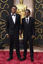 Barkhad Abdi and co-star of Captain Phillips, Faysal Ahmed: Calvin Klein Collection