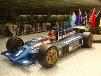 Sitting in the race car of Rick Mears, third and most recent member of the three-man club of four-time Indianapolis 500 winners.