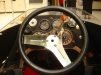 Behind the wheel of Rick Mears' race car.