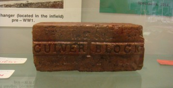 A Culver Block which was made by a Wabash Clay Company in Veedersburg, Indiana. These blocks were literally paving the way for The Brickyard. The inscription reads: W.C Co., Culver Block, Patented May 21, 1901.