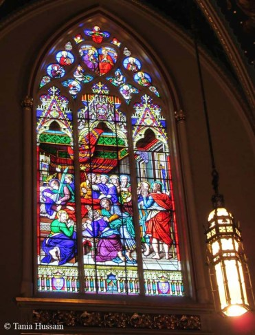 Stained-glass windows in the Basilica.