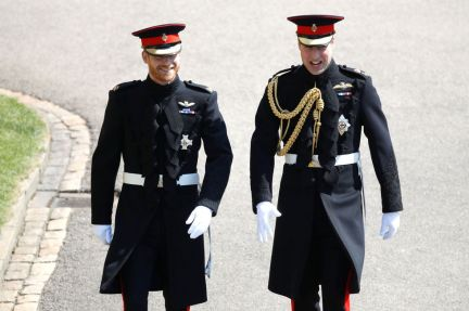 Prince Harry and William walking to church